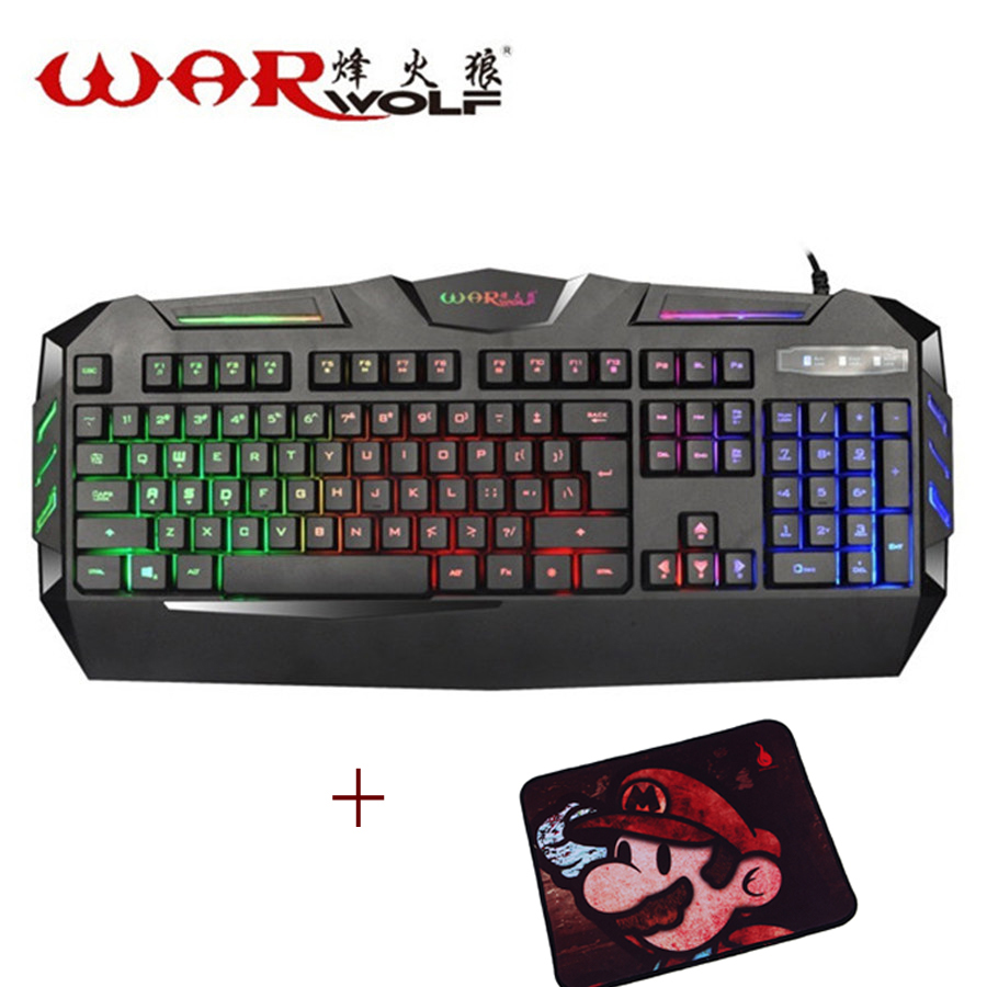 Warwolf K3 LED Gaming Keyboard USB Wired Power Computer Laptop Desktop Teclado Waterproof Keyboard Comfortable + Mouse Pad free(China (Mainland))