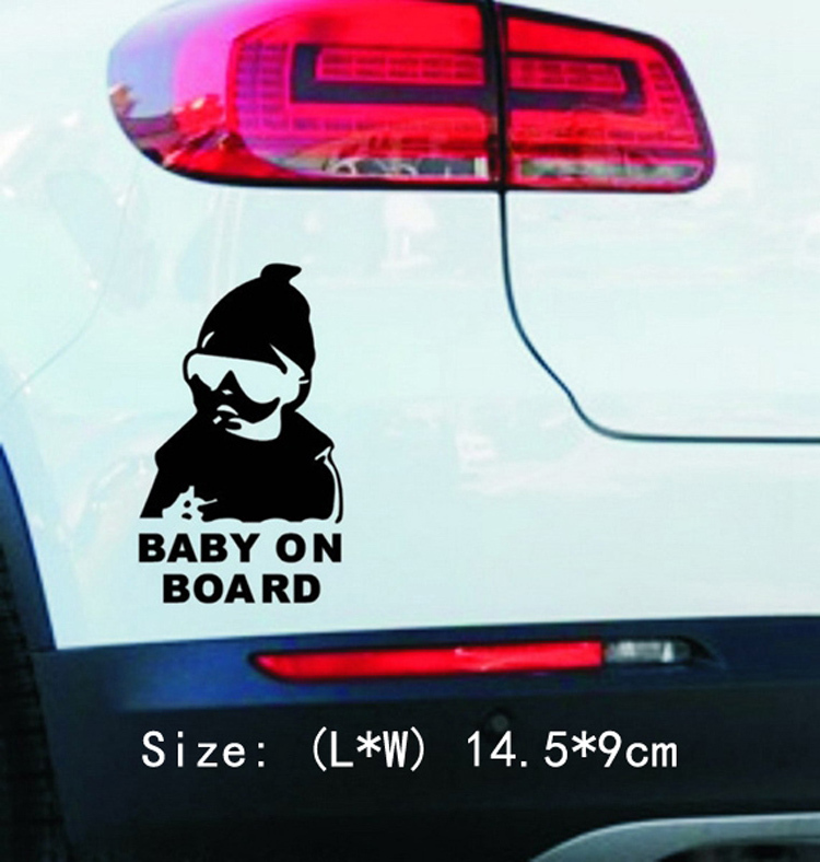 Fashion Lovely Baby On Board Warning Decal Reflective Waterproof Car Window Vinyl Stickers Color Black White