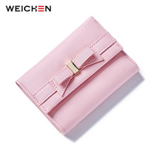 Buy WEICHEN Korean Style Pink Knot Lovely Short Lady Wallets, PU Leather Trifold Small Purse Women Clutch Wallet Coin Card Cash for $5.98 in AliExpress store