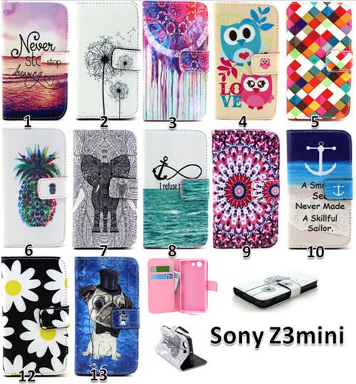 2014 Book Wallet PU Leather Flip Cover Case Sony Xperia Z3 Compact Mini M55W D5803 D5833 Cases - True Love Commodity Co.,Ltd. store