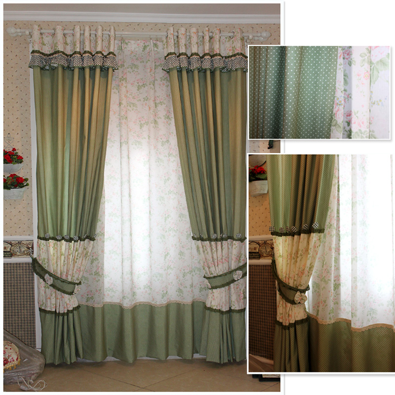 Rustic style curtain window screening piaochuang plaid fabric blue flowers(China (Mainland))
