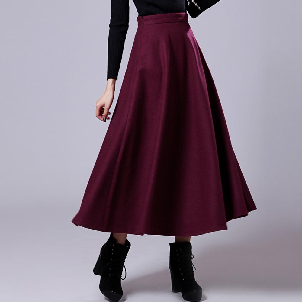 s xl elastic high waist woolen big hem skirts s
