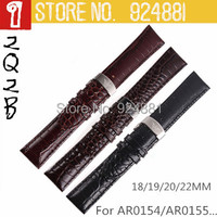 For AR0154/AR0155....,New Brand Watchband,18 19 20 22mm,Genuine Leather Watch Straps,Fold Deploy Buckle With LOGO, Free Shipping