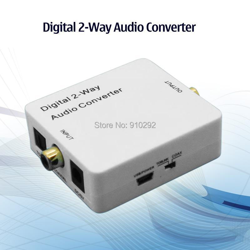 50pcs/lot 2-Way Digital Audio Converter Coaxial to Toslink accept S/PDIF Signal with power adapter in retail package(China (Mainland))