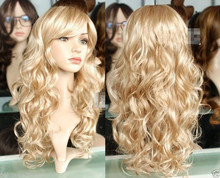 Harajuku Cosplay Wig Party Women Sexy Long Curly Costume Synthetic Hair Ladies Blonde Wigs Female Peruca Pelucas(China (Mainland))