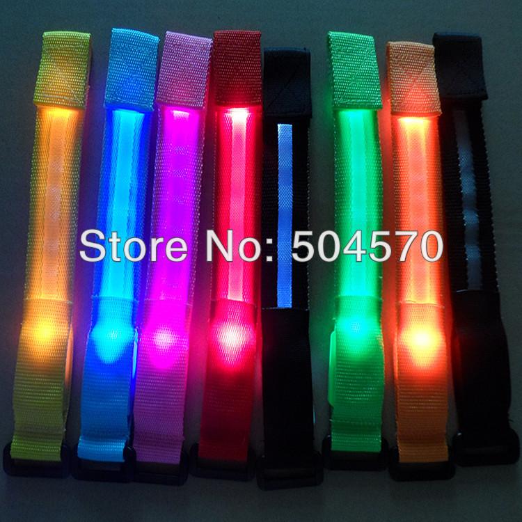 10pcs lot 22cm nylon led sports wrist strap band glowing. Black Bedroom Furniture Sets. Home Design Ideas