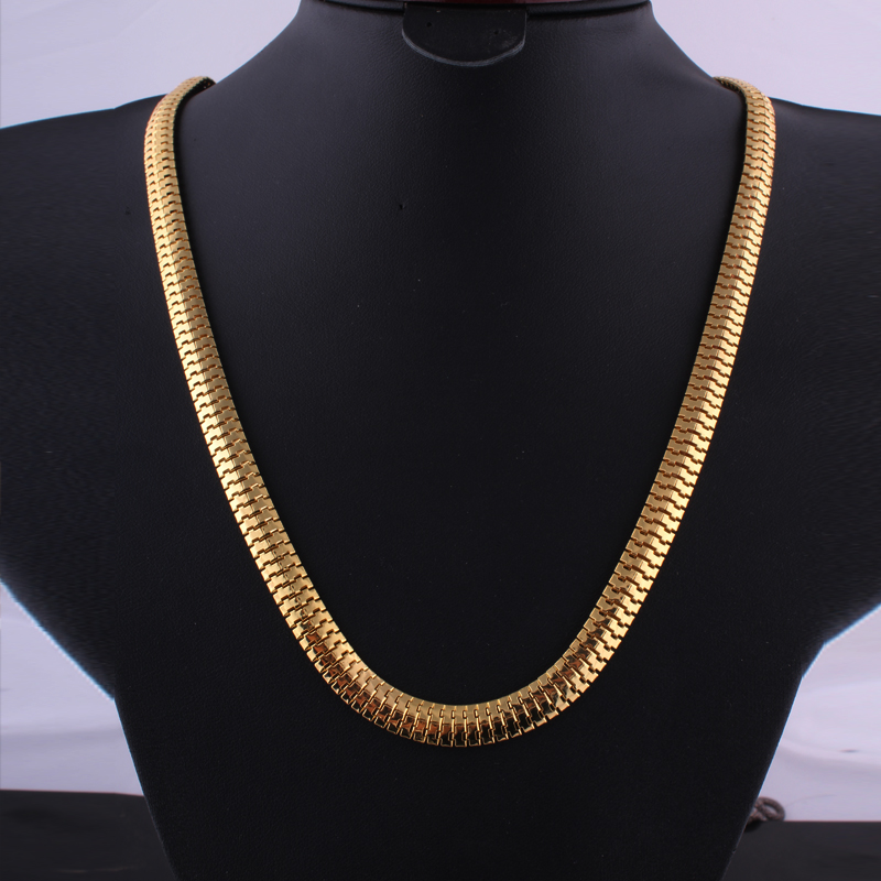 High quality Necklace Gold color Link Hip Hop Franco Snake Chain ASAP ROCKY HERRINGBONE Same Style For star(China (Mainland))