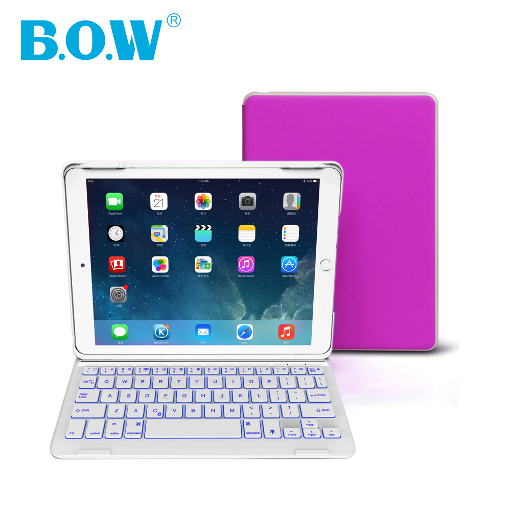 For Apple iPad Air 2 Wireless Bluetooth keyboard with Adjustable backlit and Premium leather case cover for iPad 6 [free gift](China (Mainland))