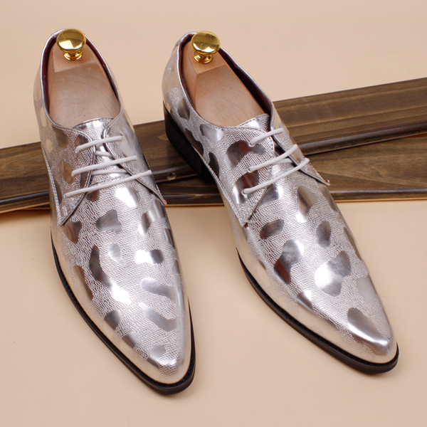 Super pointed shoes stylist British men gold wedding photography business Korean high-heeled stage - House Mall store