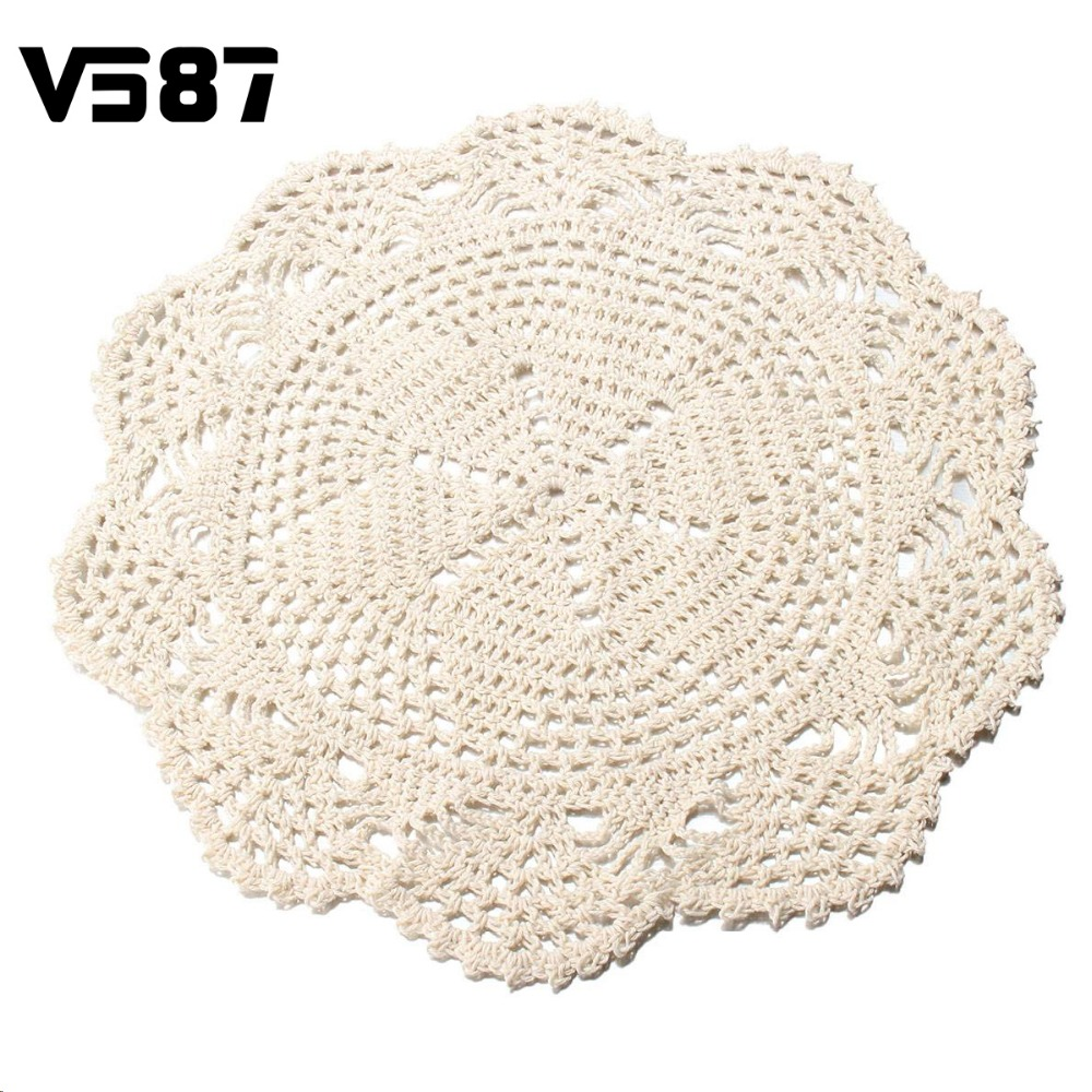 Flower Placemat Round Doilies Vintage Beige Crochet Lace Doily Cotton Yarn Handmade For Wedding Home Table Decoration 28CM(China (Mainland))