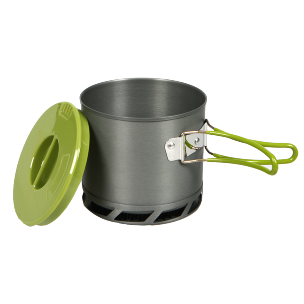 New 1.2L Camping Pot Outdoor Portable Heat Collecting Exchanger Pot Anodized Aluminum Camping Cookware 1-2 People(China (Mainland))