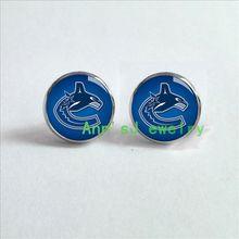 ES-00565 Vancouver-ear stud Canucks-pierced earrings hockey-custom-stud-hockey-earring-jewelry-for-women-fans-team-gift-cheap(China (Mainland))
