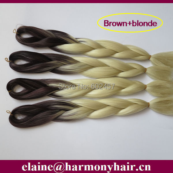 FREE Shipping!!!  (1 piece/lot) Brown+Blonde Ombre Color Synthetic Heat Resistant Jumbo Braid Hair Omber Kanekalon Braiding Hair<br><br>Aliexpress