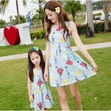 summer 2016 mom and daughter dress family look girl and mother family matching outfits fashion women light blue character dress