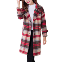England Tartan Plaid New Long Wool Blend Loose Coat Cashmere Lapel Green/Khaki Check Straight Long Overcoat