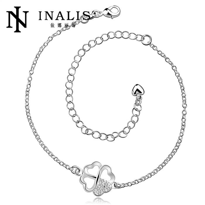 Foot Jewelry Silver Anklets For Women Four Leaf Flower Pendants Charms Ankle Bracelet(China (Mainland))