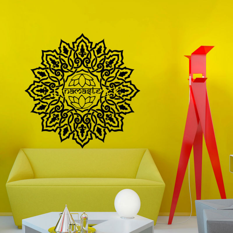 Lotus Mandala Wallpaper Living Room Decorative Sticker Vinyl Art Home Decor Indian Pattern Wall Decals