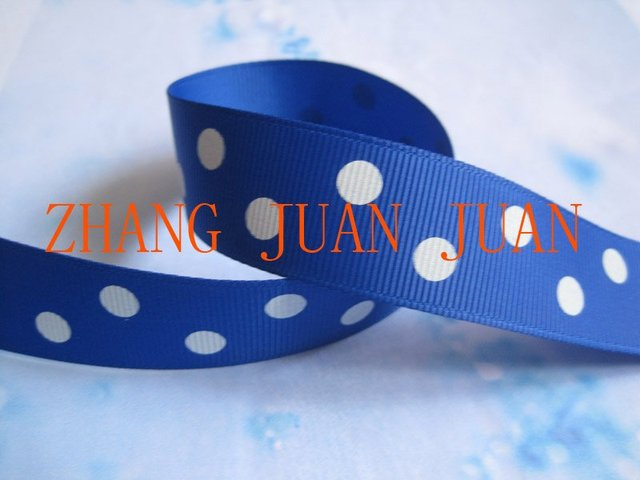 7/8 inch electric blue grosgrain ribbon printed with big white dots
