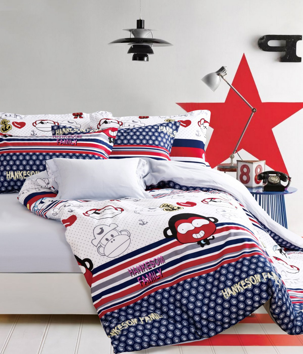 parure de lit literie adolescent edredones colchas singe animaux linge de lit rayures et polka. Black Bedroom Furniture Sets. Home Design Ideas