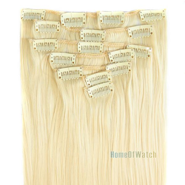 Seven piece 60cm 24 inch Long light Blonde hair extension women cosplay hairpiece clip in on (NWG0HE61087-GN2)(China (Mainland))