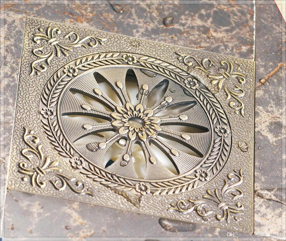 mixer antique bathroom accessories deodorization floor drain Antique Brass/ brushed nickel/ Shower Drain Waste bathroom hardware(China (Mainland))
