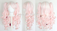 peruca hair queen Vocaloid Hatsune Miku Lolita Wig Pig Tails White Light Pink Blend Mix Gothic Sweet ponytai Hairs queen brazili(China (Mainland))