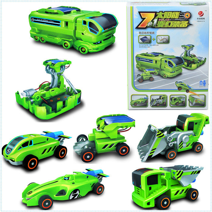 Ceative Gift Electronic DIY Deformed Robot Solar energy Toys Learning Education Solar Power Car Truck Toy For Boy Girl Y064(China (Mainland))