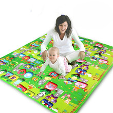 Free Shipping Hot Sale 2015 Baby Crawling Play Mat Baby Play Carpet Double Side Baby Toys Mat Fruit Letters Happy Farm 2.0*1.8m(China (Mainland))