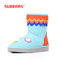 SUBERRY 2016 New Winter Shoes For Women Keep Warm Cute Flat Animal Snow Boots Fashion Fur
