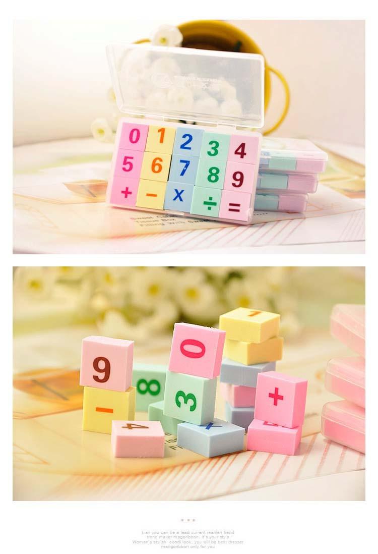 15pcs/box Мини-номер Ластик eraser/Новинка/маленький резиновый Ластик для детей подарки игрушка приз и розничная школьных принадлежностей Р29