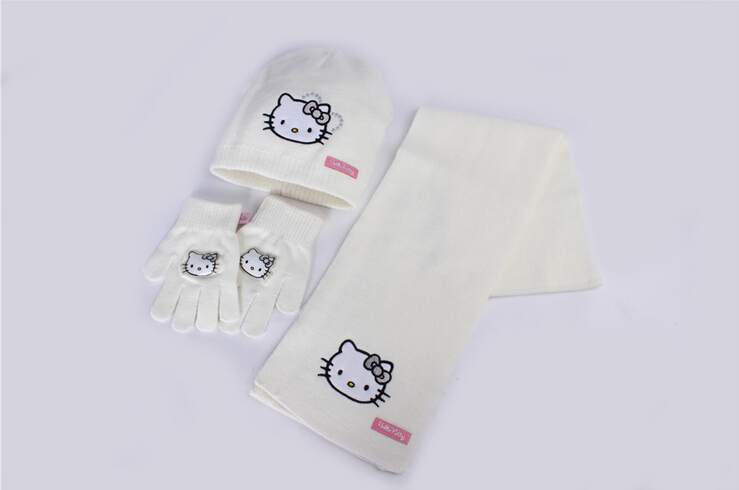 2014 new baby girl hello kt knitted hat gloves scarf sets,cold-proof wind-proof,children thermal cartoon cap mitten muffler suit(China (Mainland))