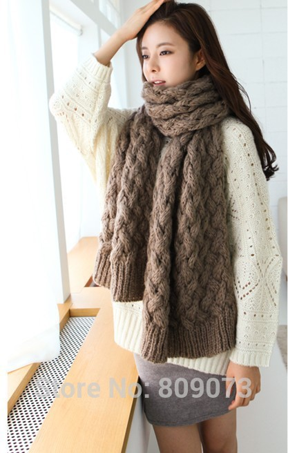 Гаджет  140*140cm Big Designer Women Shawls Scarf Winter New Brand Neck Warmer High Quality Thick Knitted Scarf None Одежда и аксессуары