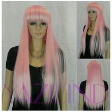 Long Straight Full Bangs Loli Lolita Party Hair Cosplay Synthetic Wig pink Ladies Heat Re sistant hair Wigs - meiyan gan's store