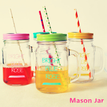 2015 My Personality Mason Jar Bottle icecream Fruit Installed Cold Drink Infusion Colored Glass Water Bottles Infuser With Straw(China (Mainland))