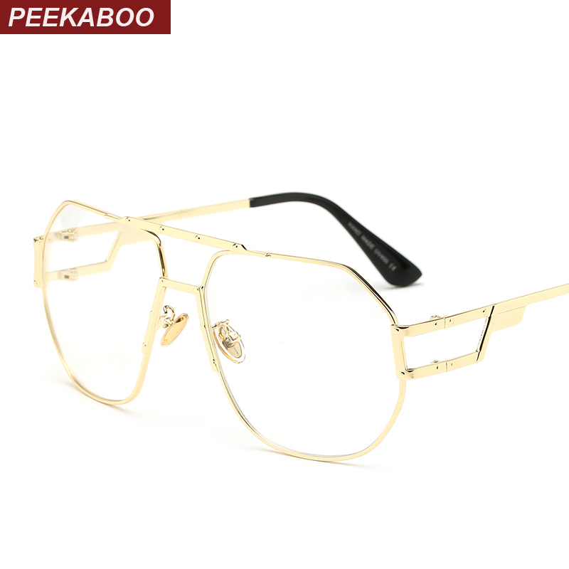 peekaboo gold metal frame eyeglasses women brand oversized frame glasses for men high quality 2017 clear lens