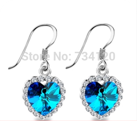 ER191 jewelry Wholesale Fashion Blue Love Ocean Star Earrings for women girl Free shipping(China (Mainland))