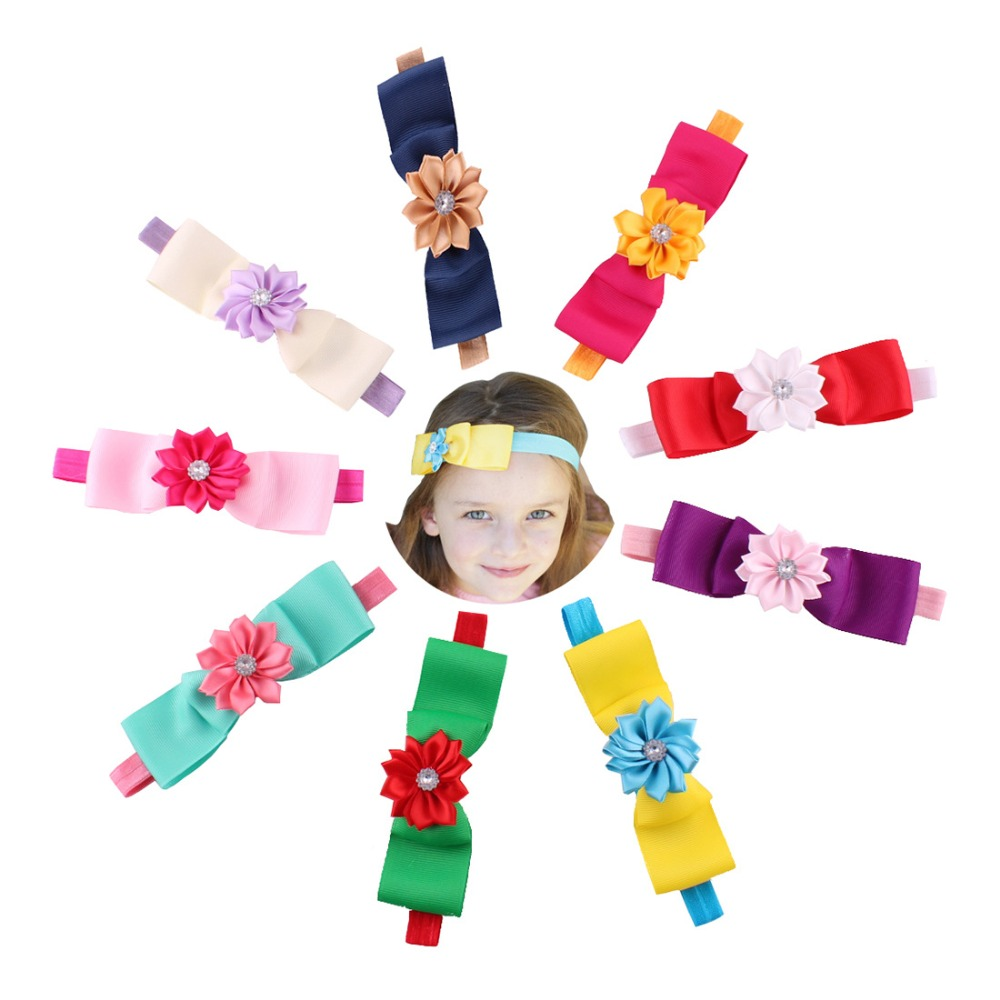 655-522 Baby girl children soft elastic rabbit head scarf bow bow in hair with attachments 9pcs/lot(China (Mainland))