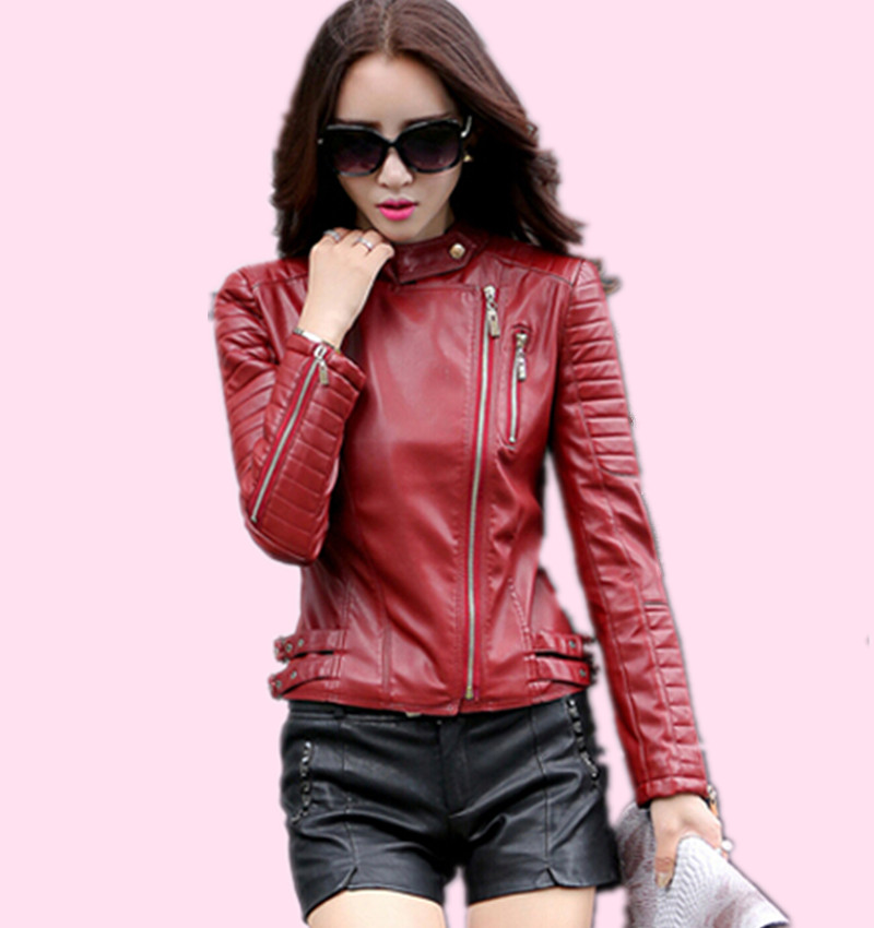 2016 Fashion Slim Leather Jacket Women Red Female