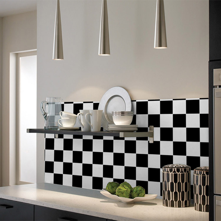 Wallpaper oil wallpaper black and white mosaic wall stickers bathroom tile stickers(China (Mainland))