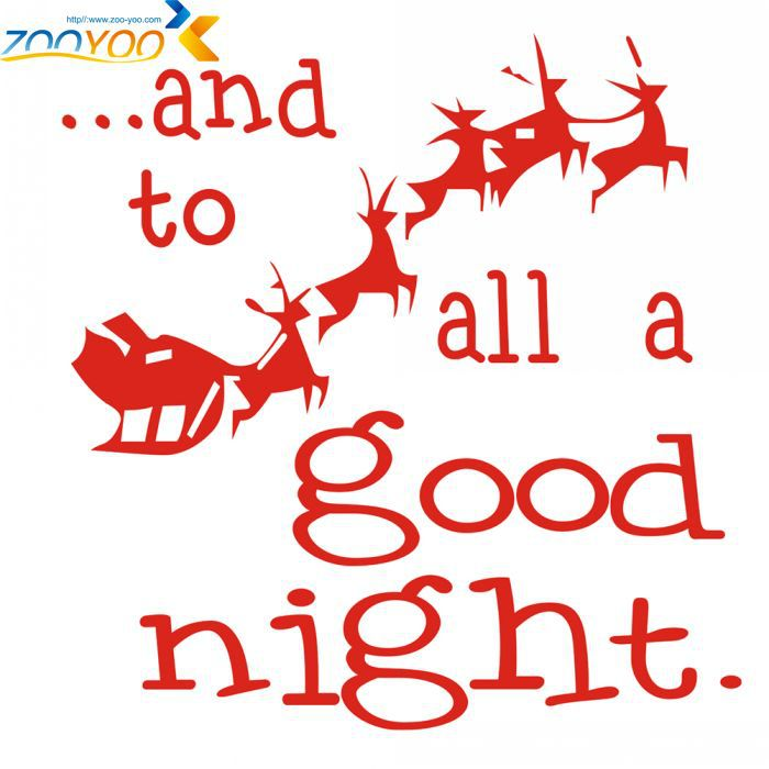 ZooYoo Santa Claus All A Good Night Christmas Christmas Wall Stickers Glass Stickers Merry Christmas Wall Decals Removable(China (Mainland))