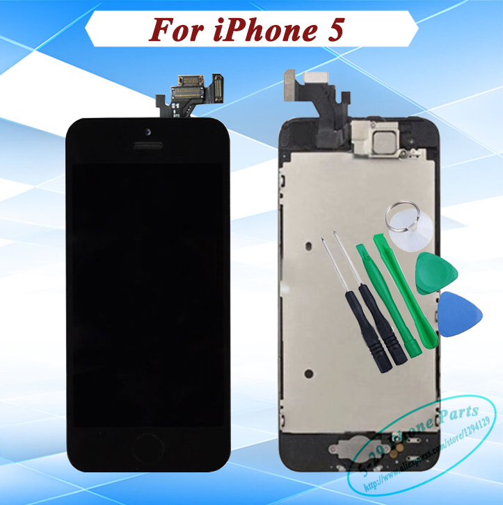 100% AAA Quality Black White LCD Display + Home Button + Front Camera + Earpiece Full LCD Digitizer Assembly For iPhone 5(China (Mainland))