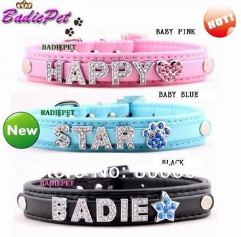 MOQ20pcs (Mix9colors),Crystal Buckle,Hot Sell Classic 10mm DIY Name Personalized PU Leather Dog Collar(Price exclude charms)