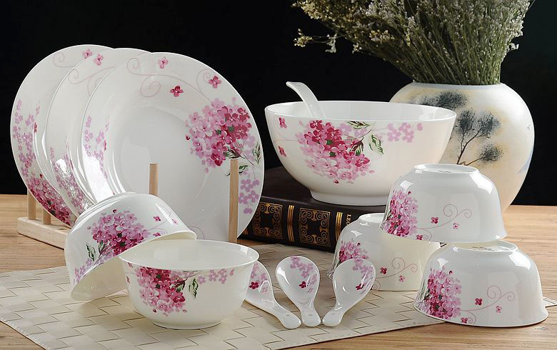 40pcs lot floral fine bone china dinnerware set ceramic lunch box