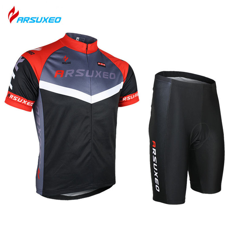 ARSUXEO Men's Cycling Jersey Clothing Sets Breathable Short Sleeve Road Bike Bicycle Jersey+ Tights Shorts 3D Coolmax Gel Paded