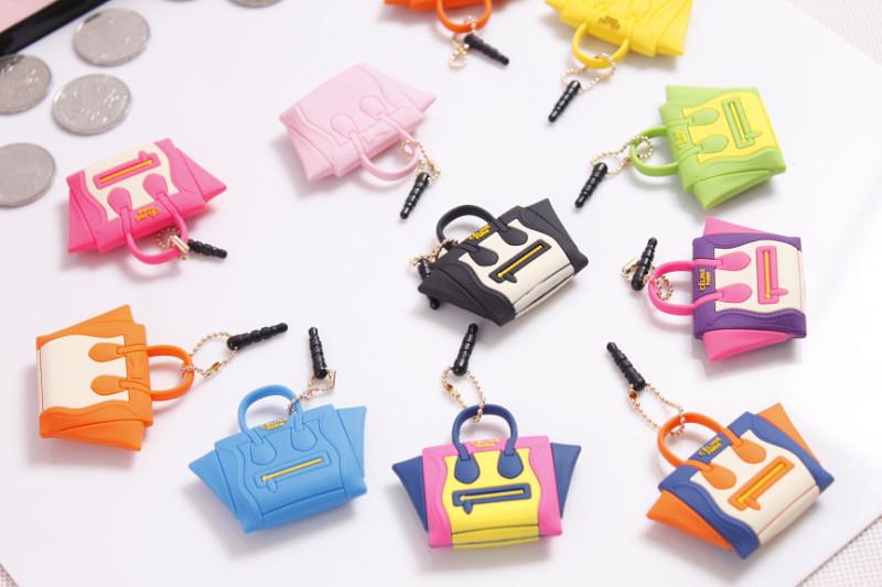 2014 Best Selling Lovely Handbag Dustproof Plug Satchel Shoulder Bag Purse Dust Plug Headphone Jack Plug Cell Phone Accessories
