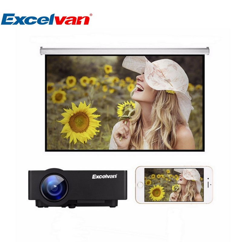 NEW Excelvan E08 LCD Projector Home Cinema Beamer 1080P 1500Lumen Support Multi-screen Interaction Via Data Cable For Smartphone(China (Mainland))