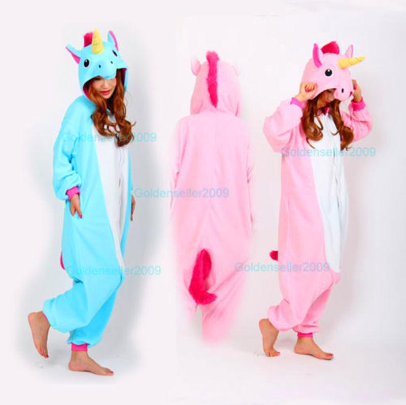 Nieuwste all in one volwassenen pyjama pyjama dier kostuum cosplay, vrouwen, winter kleding leuke cartoon dier eenhoorn onesies pyjama sets(China (Mainland))
