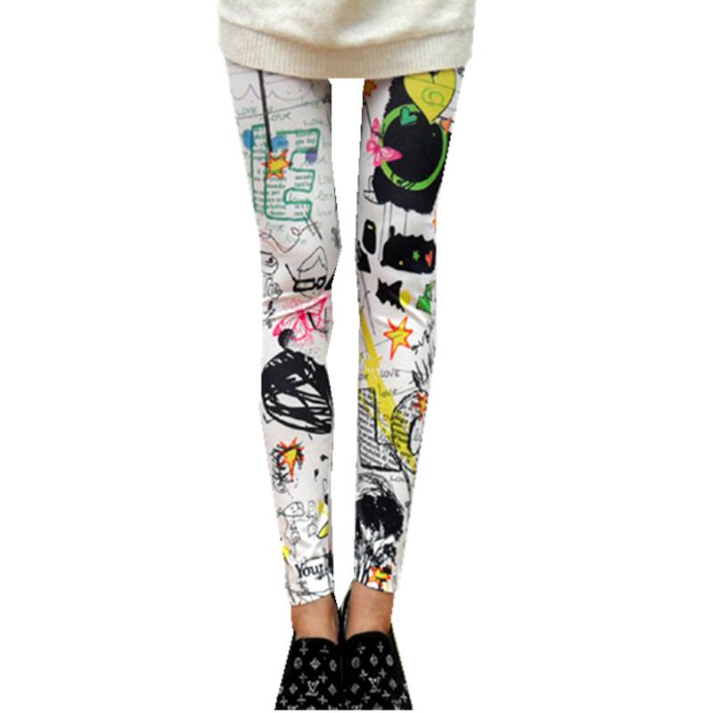 2015 New Fashion Women Sexy Slim Leggings Ladies Scrawl Pattern Printed Pencil Leggings White Free Shipping(China (Mainland))