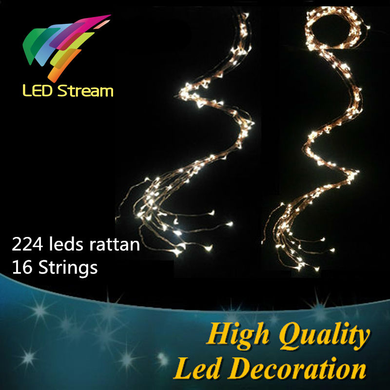High quality 224 LEDs rattan decoration string lights 3AA battery Outdoor Waterproof Copper Wire Timer String Fairy Light(China (Mainland))