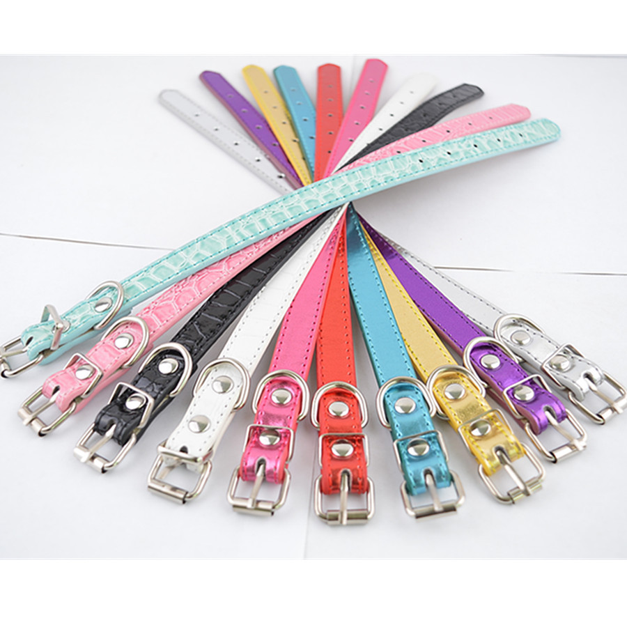 10pcs/lot Mixed Colors Flashing Croc Leather Dog Collar Small Collars For Dogs Pet Dog Supplies(China (Mainland))